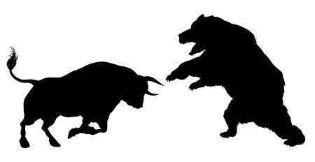 A bear versus a bull standing for the bears versus bulls financial stock market metaphor