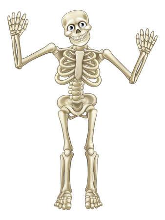 Skeleton cartoon character or Halloween monster waving his hands or dancing