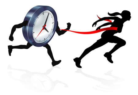 Silhouette woman in a race with a clock character beating it to the finish line. Concept for beat the clock