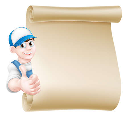 A cartoon mechanic, plumber, handyman, decorator or gardener leaning around a scroll and giving a thumbs up