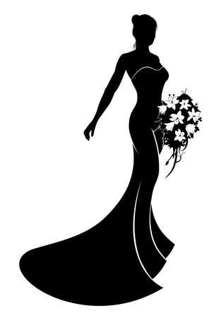 Bride en silhouette vêtue d'une robe robe de mariée de mariée tenant un bouquet de fleurs de mariage Vecteurs