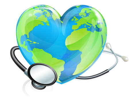 聴診器で心臓地球地球儀は、それを包み込みます。世界保健デーのためかもしれない
