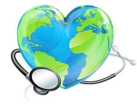 Cuore globo mondo con uno stetoscopio avvolto intorno ad esso. Potrebbe essere per la Giornata Mondiale della Salute Archivio Fotografico - 59994813