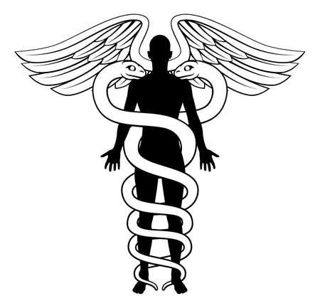 Un grafico concettuale di un medico simbolo caduceo con una figura sagoma umana al centro. corpi serpenti potrebbero simboleggiare un DNA umano doppia elica filo.