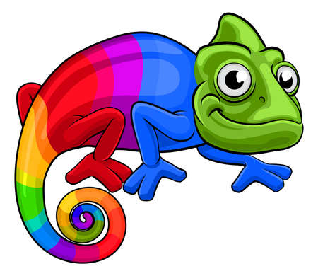Rainbow multicoloured lizard chameleon cartoon character Ilustração
