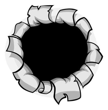 Un agujero rasgado en el elemento de diseño de papel o de metal de fondo