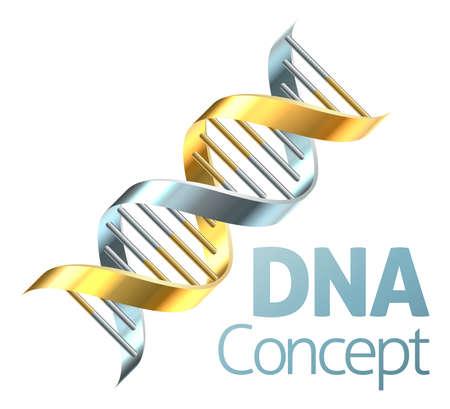 Eine DNA-Doppelhelix Chromosom Strang in Gold und Silber Genetik Konzept Standard-Bild - 59994650