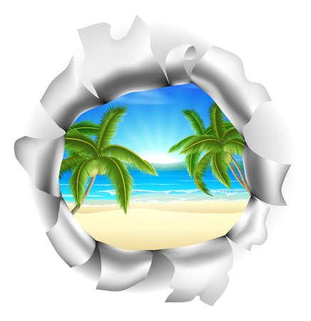 Una playa tropical con palmeras visibles a través de un agujero. Concepto de oportunidades o de un futuro positivo, o simplemente la oportunidad de ganar un día de fiesta o de vacaciones
