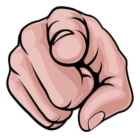 漫画の手の人差し指でフロントをナックルズします。