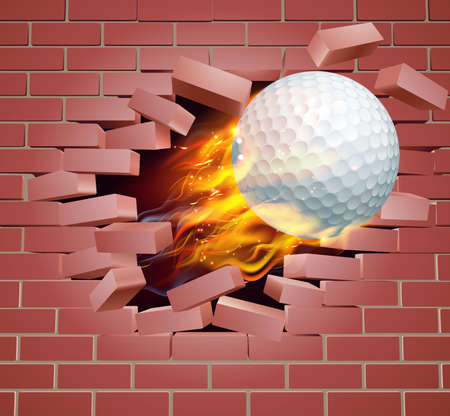 An illustration of a burning flaming Golf ball on fire tearing a hole through a brick wall Illustration
