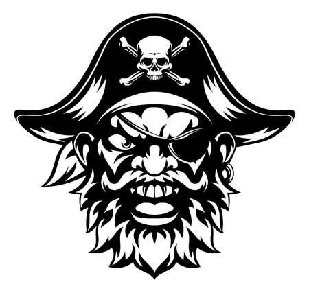 An illustration of a mean looking pirate sports mascot character Vektoros illusztráció