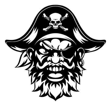 Eine Abbildung eines bedeuten suchen Piraten Sport-Maskottchen Charakter Vektorgrafik