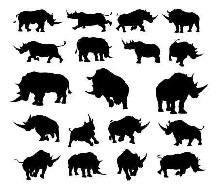 Un conjunto de rinocerontes o rinocerontes siluetas de animales