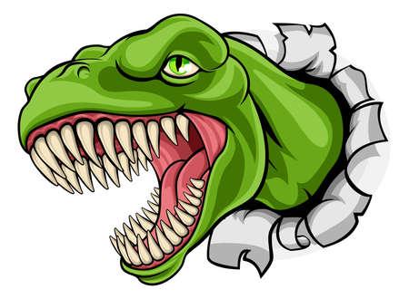 Un dibujo animado de T Rex del dinosaurio del Tyrannosaurus que rasga a través del fondo