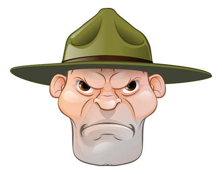 An illustration of a cartoon angry army boot camp drill sergeant Vectores