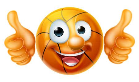 A happy cartoon basketball ball man mascot character doing a double thumbs up Vektorové ilustrace