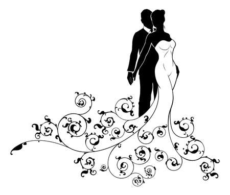 A bride and groom wedding couple in silhouette, the bride in a white bridal dress gown and floral abstract floral pattern design
