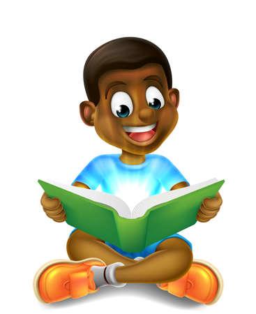 A happy cartoon little black boy enjoying reading an amazing book and using his imagination