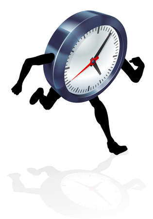 An illustration of a clock character running. Concept perhaps for time pressure or running out of time