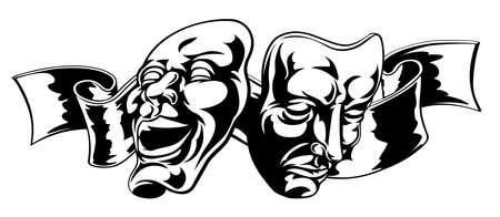 Ilustración de teatro comedia y tragedia máscaras uno feliz y triste uno