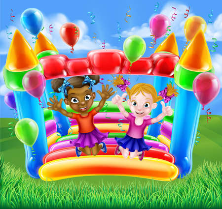 Kids having fun on a bouncy inflatable house