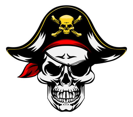 An illustration of a pirate Skull wearing a pirate captains hat and an eye patch