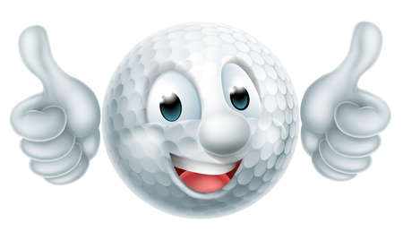 Golf ball man mascot character doing a double thumbs up Ilustrace