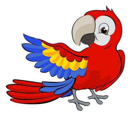 Cute cartoon parrot mascot pointing with a wing