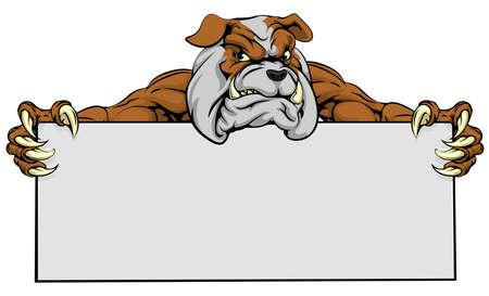 Een gemiddelde op zoek bulldog hond mascotte met een bordje