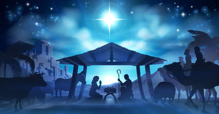 Navidad de la escena de la natividad del niño Jesús en el pesebre con María y José en la silueta rodeada por los animales y los hombres sabios con la ciudad de Belén en la distancia con
