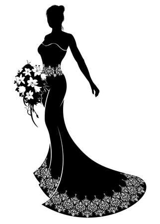 Bride ilustracja sylwetka ślub, panna młoda w sukni ślubnej sukni z abstrakcyjnej kwiatowy wzór trzyma bukiet kwiatów ślubnych