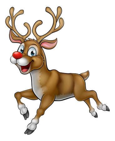 A happy smiling cartoon Christmas Reindeer with a red nose running along