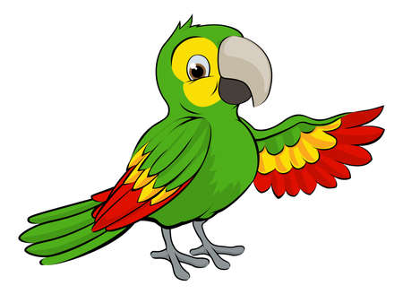 A cartoon green parrot bird pointing or waving with its wing