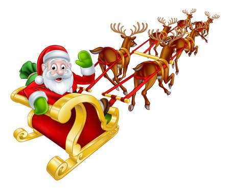Cartoon Santa Claus and his reindeer Christmas sleigh sled