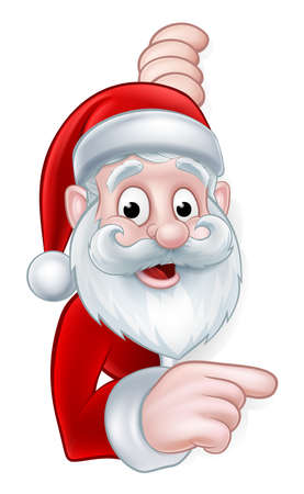 Cartoon Christmas sign with Santa Claus pointing