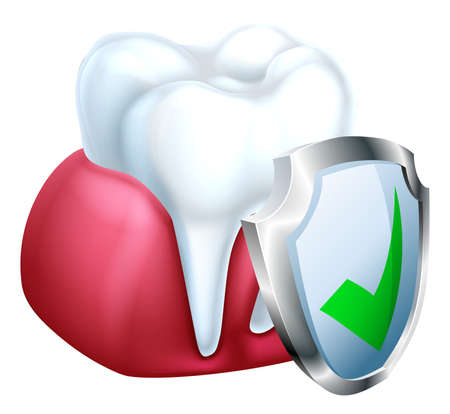 A medical dental illustration of a shield protecting a tooth and gum Illustration