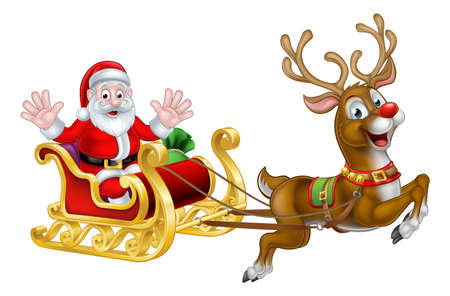 Cartoon Santa Claus in his Christmas sleigh sled with his red nosed reindeer Ilustração