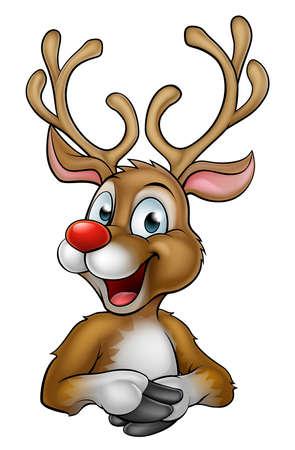 A happy cartoon Christmas Reindeer