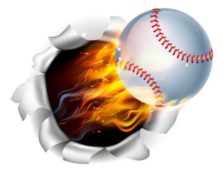 Een illustratie van een brandende vlammende bal van het honkbal op brand scheuren een gat in de achtergrond