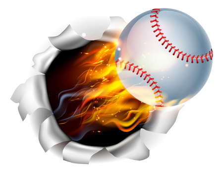 An illustration of a burning flaming Baseball ball on fire tearing a hole in the background