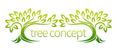 ツリー アイコンという概念と様式化された木の葉、使用にそれ自身を貸す周囲のテキスト  イラスト・ベクター素材