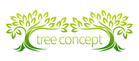 Tree icon concept of a stylized trees with leaves, lends itself to being used surrounding text