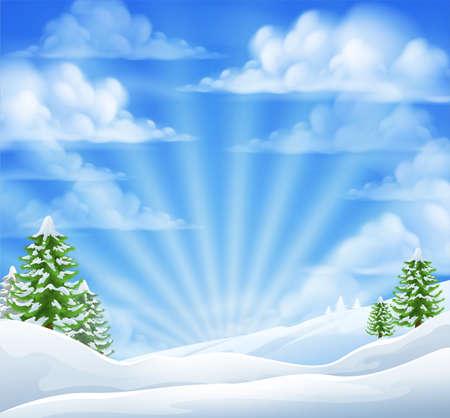 escena de fondo de las maravillas de Navidad paisaje de invierno la nieve