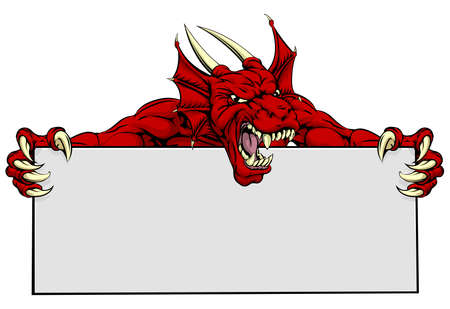 Un moyen regardant rouge mascotte de dragon tenant un signe