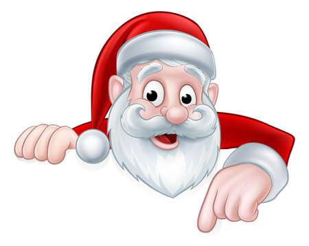 Een illustratie van een cartoon Christmas Santa gluren over en die neer op een teken