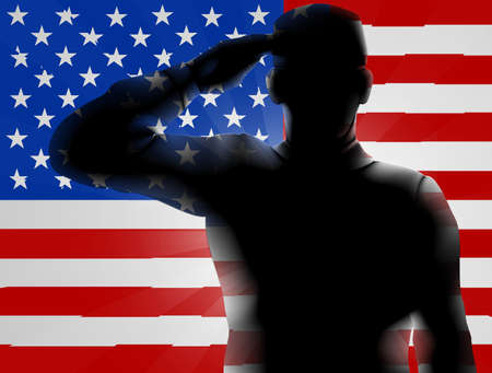 American Flag with a soldier saluting, design for Memorial Day or Veterans Day