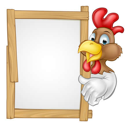 A cartoon chicken rooster character pointing at a sign or giving a thumps up towards it Illustration