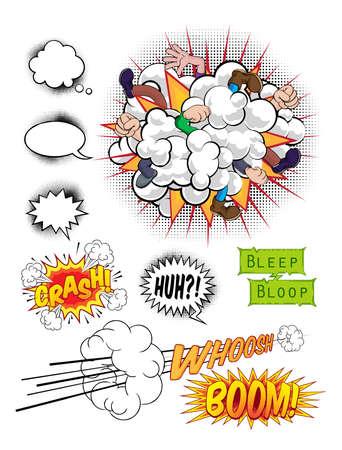 Comic book pop art graphic design elements, speech bubbles and sound effects