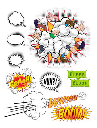 Comic book pop art graphic design elements, speech bubbles and sound effects