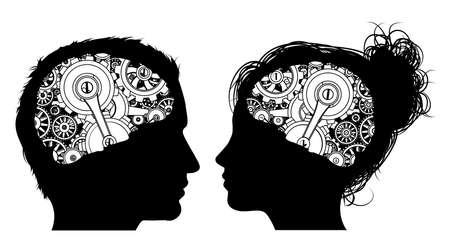 Un homme et une femme en silhouette avec des engrenages ou des dents travaillant dans leur cerveau